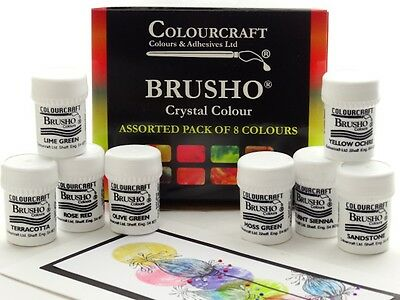 Brusho® 8 x 15g Pots - Non Toxic - FREE WAX RESIST STICKS SET!!!