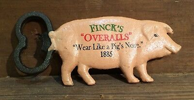 Cast Iron Finck's Pig Bottle Opener Farm House Soda Beer Antique Cow Overalls