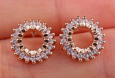 18K Gold Filled - Hollow Circle Topaz Zircon Party Stud Gems Earrings Bohemia