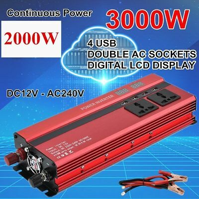 2000W 3000W 12V to 240V Car Power Converter Inverter Charger 4USB Digital LCD LI