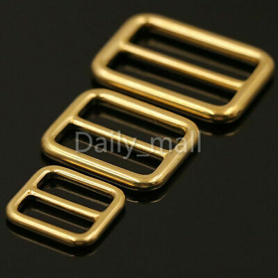 Solid Brass Tri-Glides 3 Bar Adjusters Heavyduty Slider Buckle 3 sizes available