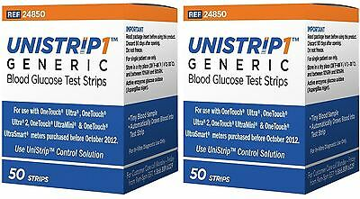 UniStrip Glucose Test Strips 100 ct, Generic For One Touch Ultra Meter