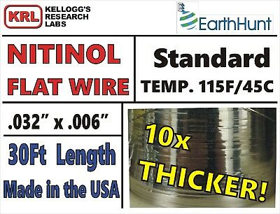 "NITINOL FLAT WIRE 30ft Rare STANDARD TEMP THICK .032"" x .006"" Trained 115f/46c"