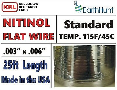 "NITINOL FLAT WIRE 25ft Uncommon STANDARD TEMP .006"" x .003 Trained 115f/46c NIB"