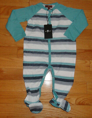 7 For All Mankind Baby Boys Footie Romper Coverall Infant 3M 6M 9M NWT