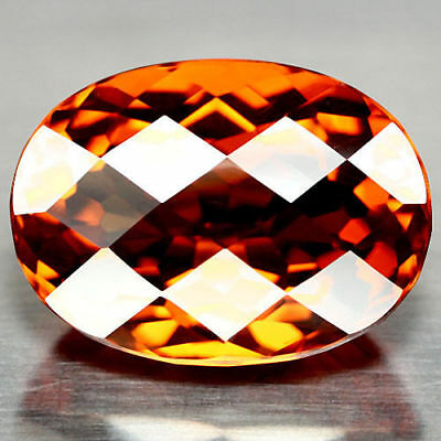 28.92 Ct Aaa Orange Brazil Citrine Oval Facet With Checker Board Table