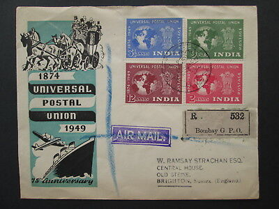 INDIA FDC cover UPU stamps 1949 universal postal union to brighton GB