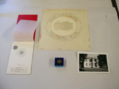 Pearl Buck House - vintage lapel pin and original artwork