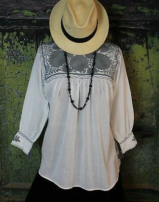 Lg Hand Embroidered Spring Blouse 100% Cotton Chiapas Mayan Mexico Cowgirl Boho