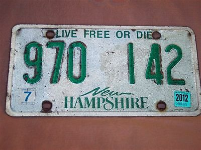 1) Vintage 2012 New Hampshire License Plate 970 142 - Live Free Or Die - 7 NH 12