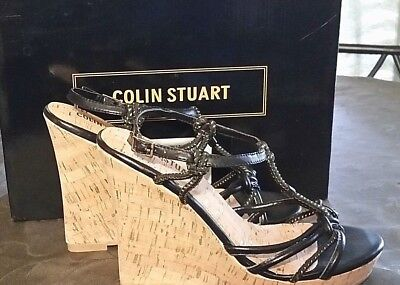 2354a4b1d298 Colin Stuart black Gold SEXY Design T Strap Cork Wedge Sandal Shoe Size 9B  NEW