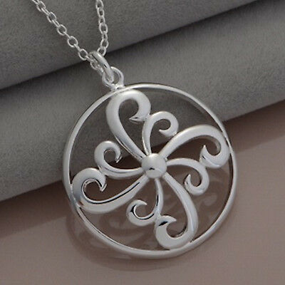 """925 Sterling Silver Plt Swirl Scroll Round Circle Pendant 18"""" Necklace Chain 284"""