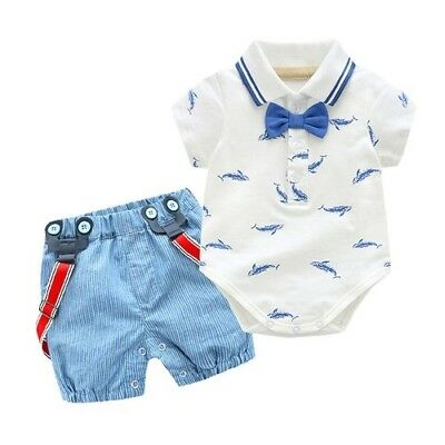 Summer Newborn Baby Boy Girl Clothes Little Shark T-shirt Overalls Shorts Pairs