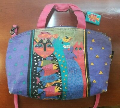 LAUREL BURCH Cats Purse Rare Vintage Tote Bag Colorful Fish Cross Body