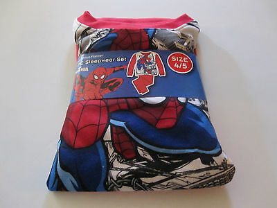 Marvel Spider-Man Boys Flannel 2-PC Sleepwear Red Multi-color Print Size 4/5 New