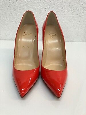 ab6477bffdc CHRISTIAN LOUBOUTIN ORANGE Pigalle Follies Patent Leather Pumps Size 39.5