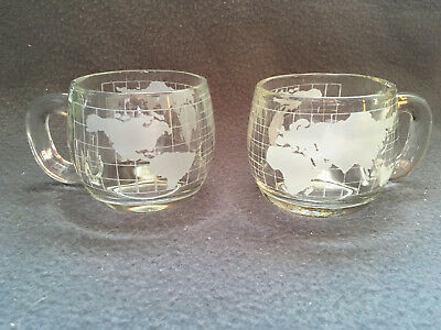Set of 2 Vintage Nestle World Map Atlas Mugs Cups