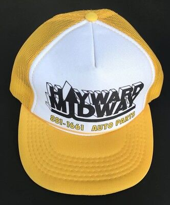 Midway Auto Parts >> Vintage Hayward Midway Auto Parts Trucker Hat Mesh Snap Back Yellow
