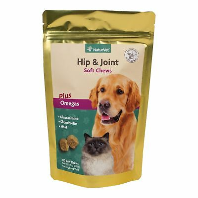 NaturVet Hip & Joint Soft Chews Plus Omegas for Dogs and Cats, 120 ct Soft Ch...