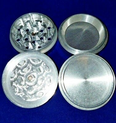 Large 4 Piece Tobacco Herb Spice Grinder Aluminum w/Magnetic Lid