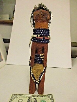 "Beaded Fetish Doll from Kenya, Peace Corp Purchase 45 Yrs Ago, abt 12"" Tall"