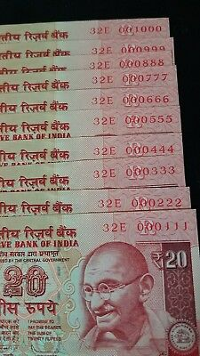 india lot of 9 notes 20 rupees 2013 llow serial number 3 digits