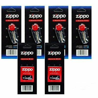 Zippo Lighters Replacement 6 Value Packs (24 Flints+ 2 Wicks)