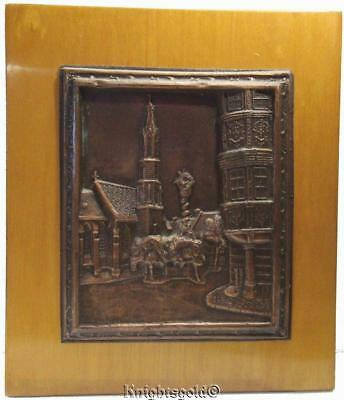 Wall Hanging Cathedral Embossed Copper on Wood Plaque Picture 32.5 x 28 cm