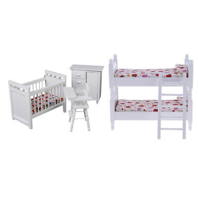Dollhouse Miniature Kids Bedroom Furniture Bunk Bed & Baby Crib Set for 1/12