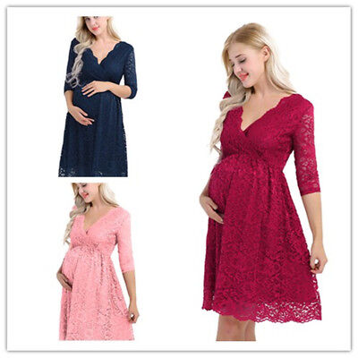 Elegant Womens Maternity Floral Lace Dress V Neck Pregnant Photography Dress