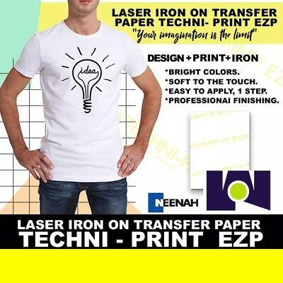 "LASER IRON ON TRANSFER PAPER TECHNIPRINT EZP 8.5"" x 11"" 25Pk TOP Sell"