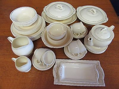 1930s 55 Piece Dinner Set for 6 + Extras in Cream Diana New Hall Hanley England