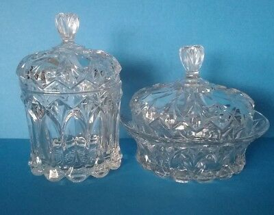 Beautiful Vintage  Etched Cut Glass Elegant Decorative Lidded Candy Bowl Pair