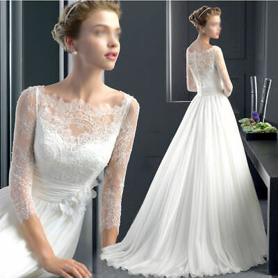 Womens Lace Flower Long Sleeve Slim Fit Wedding Dress Bridal