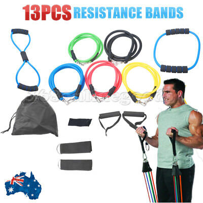 13PCS Heavy Resistance Band Yoga Tension Rope Crossfit Fitness Exercise Gym AU