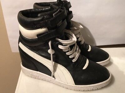 b3e22ee89f6b3a Puma Miharayasuhiro My-66 Womens Black Leather Hi Top Wedge Sneakers Shoes  9.5