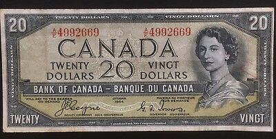 CANADA 1954 $20 DEVIL'S FACE BANKNOTE NICE COLLECTABLE BILL COYNE-TOWERS BC-33a