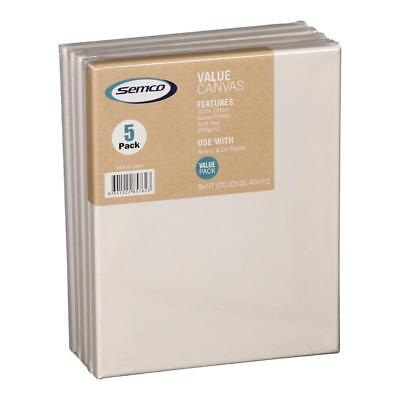 NEW Semco 8 x 10 Inch Stretched Canvas 5 Pack By Spotlight