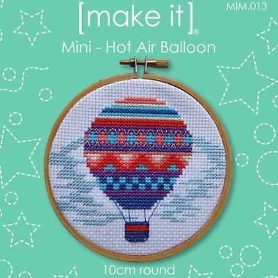 NEW Make It Cross Stitch Hot Air Balloon Hoop Kit By Spotlight
