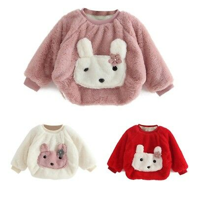 AU 0-3Y Kid Baby Winter Warm Cute Rabbit Long Sleeve Pullover Top Blouse Clothes