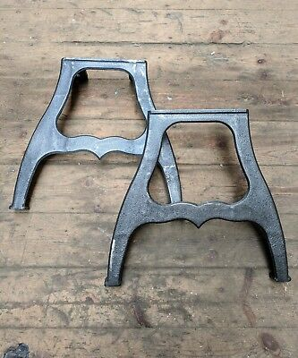 Pair of Cast iron machine legs for vintage industrial coffee table or bench legs