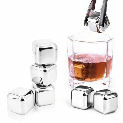 Stainless Steel Whiskey Wine Reusable Ice Cooling Cubes Chilling Stones