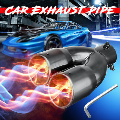 2.5'' Universal Car Stainless Steel Dual Exhaust Y-Pipe Muffler Tail Tip Adapter