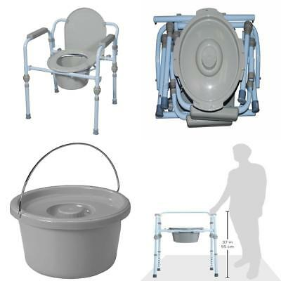 Portable Folding Bedside Steel Commode Toilet with Bucket and Splash Guard New