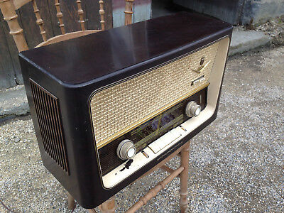 Antique post radio to lamp wicks TSF wood and fabric vintage GRUNDIG tubes type