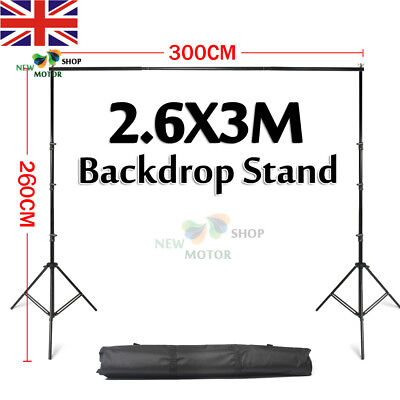2.6x3m Heavy Duty Adjustable Photography Background Support Stand Kit With Case