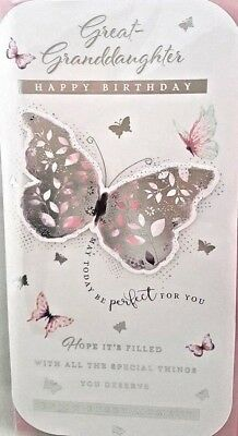 GreatGranddaughter Birthday Card Silver Butterfly Design Quality Verse