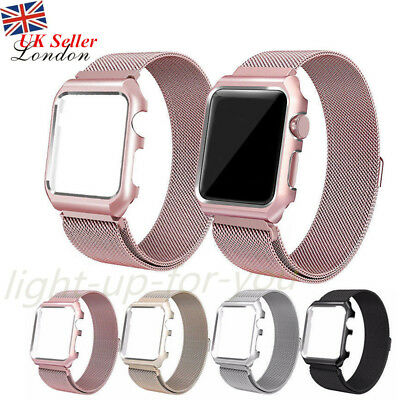 Milanese Watch Strap Band Loop For Apple Watch iWatch + Frame Stainless Steel UK