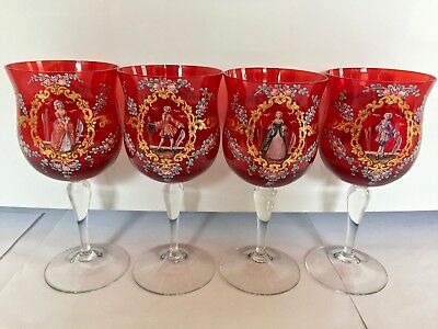 4 Antique Enamelled Venetian Ruby Red Glass Goblets