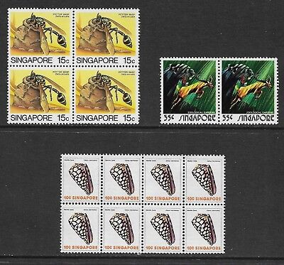 SINGAPORE mint 1973 Zoo joined pair, 1977 Shells 1985 Insects blocks, MNH MUH